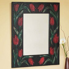 Red Tulips Leather Wall Mirror
