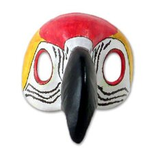Scarlet Macaw Leather Carnaval Bird Mask Wall Décor