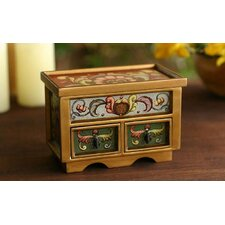 Floral Majesty Painted Glass Jewelry Box