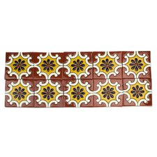 """4.1"""" x 4.1"""" Ceramic Mosaic Tile in Yellow and Terracotta (Set of 10)"""