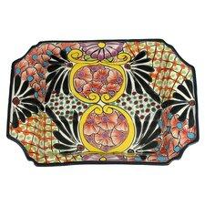 Castillo Family Rectangular Mexican Bouquet Ceramic Serving Tray