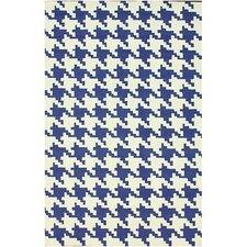 Trellis Regal Blue Houndstooth Area Rug