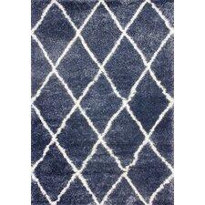 Shaggy Blue Trellis Shag Area Rug