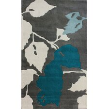 Bella Leaves Gray & Blue Area Rug