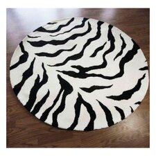 Zebra Print Black Area Rug