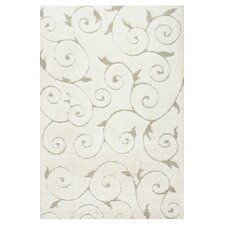 Veneti Cream Vine Swirls Area Rug