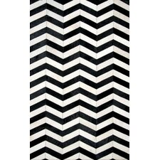 Cowhide Mardell Hand -Tufted Black/White Area Rug