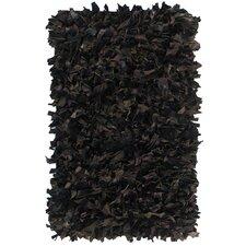 Leather Shag Black Area Rug