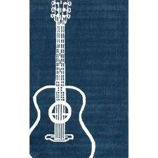 Cine Teal Guitar Novelty Outdoor Area Rug