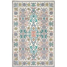 Floral White/Blue/Yellow Area Rug