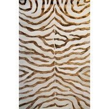 Earth Safari Zebra Print with Faux Silk Highlights Area Rug
