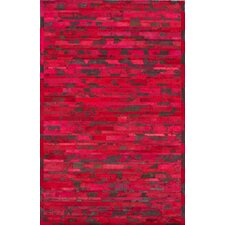 Hudson Red Chevron Area Rug