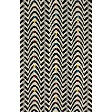 Fancy Black/White Techno Wave Area Rug
