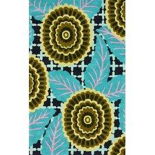 Fancy Turquoise Nalda Floral Area Rug