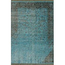 Ayers Turquoise Washed Damask Fringe Area Rug