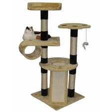 "52"" Faux Fur Wood Scratching Post"