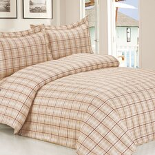 French Soft Brown Plaid Luxurious 6 Piece Duvet Set