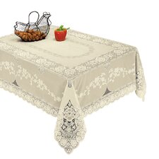Luxurious Vinyl Lace Embossed Floral Design Tablecloth