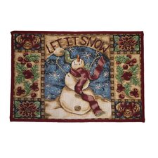 Seasonal Snow Man Design Novelty Rug