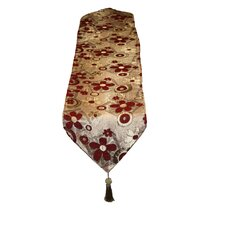 Victoria Chenille Jacquard Daisy Table Runner