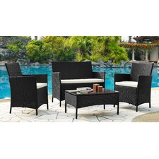 Newport 4 Piece Lounge Seating Group with Cushions