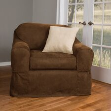 Piped Suede Separate Seat Armchair Slipcover