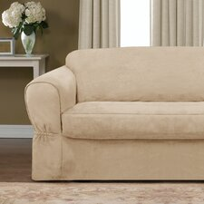 Piped Suede Separate Seat Loveseat Slipcover
