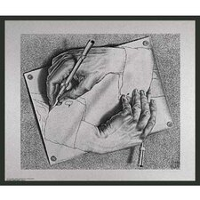 'Framed Escher Drawing Hands' by M.C. Escher Framed Painting Print