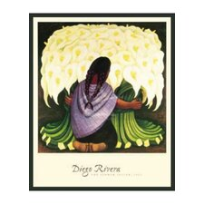 'The Flower Seller' by Diego Rivera Framed Painting Print