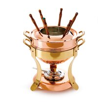 M'tradition Tinned Copper Fondue Set with Bronze Handles