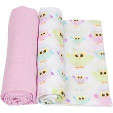 Owls 2 Piece Swaddle Blanket Set
