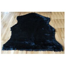 Animal Hide Black Sheep Fur Area Rug