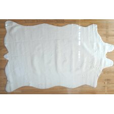 Animal Hide White Solid Fur Area Rug