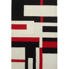 Modern Cool Red/White Area Rug
