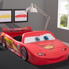 Disney/Pixar Cars Lightning Mcqueen Covertible Toddler Bed with Lights and Toy Box