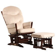 Ultramotion Multi-Position Recline Two Post Glider with Plush Cushion and Nursing Ottoman