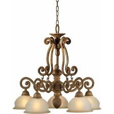 5 Light Chandelier with Umber Glass Shades