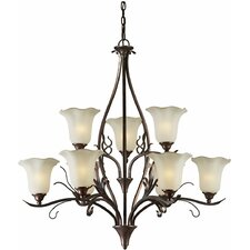 9 Light Chandelier with Umber Glass Shade