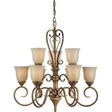 9 Light Chandelier with Mica Flake Glass Shades