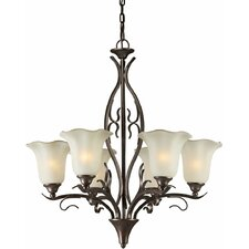 6 Light Chandelier with Umber Glass Shade