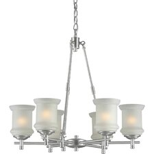 6 Light Chandelier with Linen Glass Shades