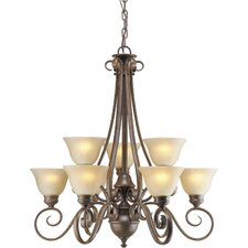 9 Light Chandelier with Gold Shades