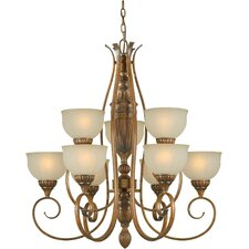 9 Light Chandelier with Patterned Glass Shades