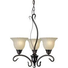 3 Light Chandelier with Mica Flake Glass Shades