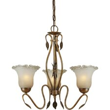 3 Light Chandelier with Umber Ice Glass Shades