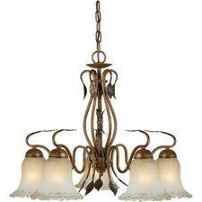 5 Light Chandelier with Umber Ice Glass Shades