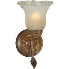 One Light Wall Sconce with Umber Ice Shade in Rustic Sienna