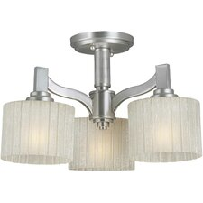 3 Light Chandelier with Umber Linen Glass Shades