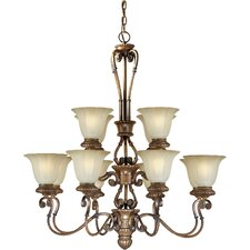 12 Light Chandelier with Umber Glass Shades