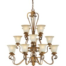 16 Light Chandelier with Umber Glass Shades